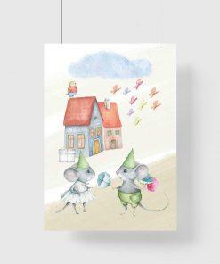 Plakat dla dzieci z myszkami