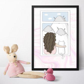 Plakat dla dziecka z kotem