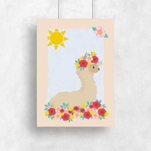 Plakat do pokoju dziecka z lamą na słońcu