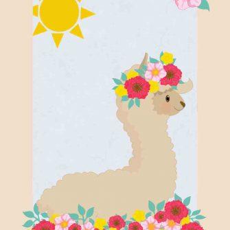 Plakat dziecięcy z motywem lamy na słońcu