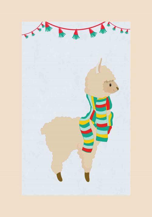 Plakat dziecięcy z motywem lamy w szaliku