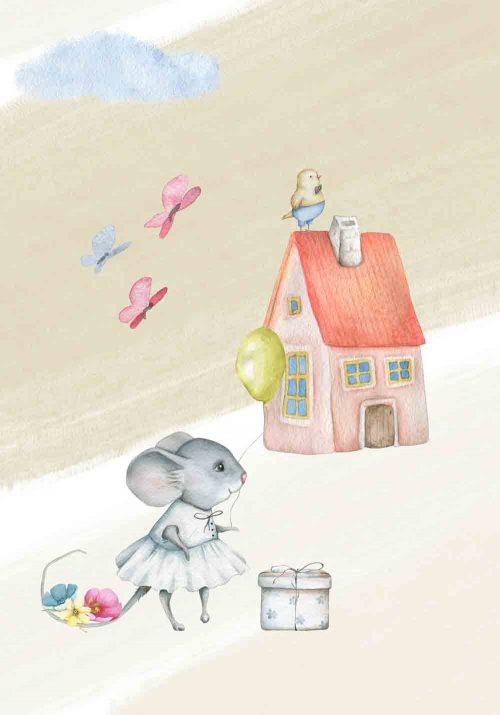 Plakat dziecięcy z motywem myszki i domku
