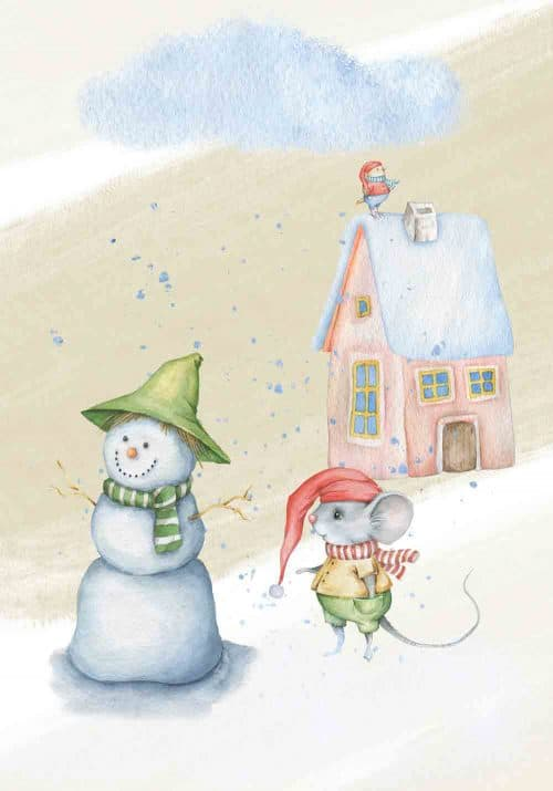Plakat do pokoju dziecka z zimową myszką