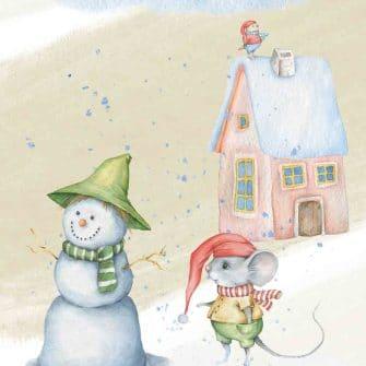 Obraz dziecięcy - Myszka zimą