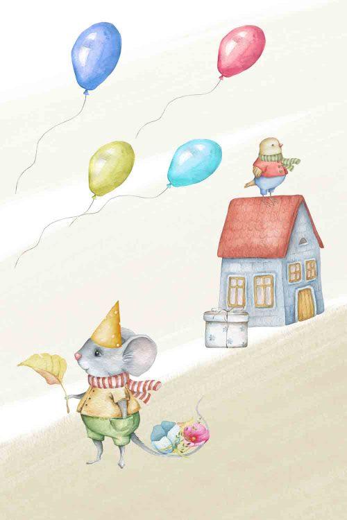 Obraz dziecięcy z urodzinową myszką