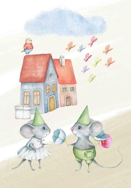 Plakat dziecięcy - Pan i pani mysz