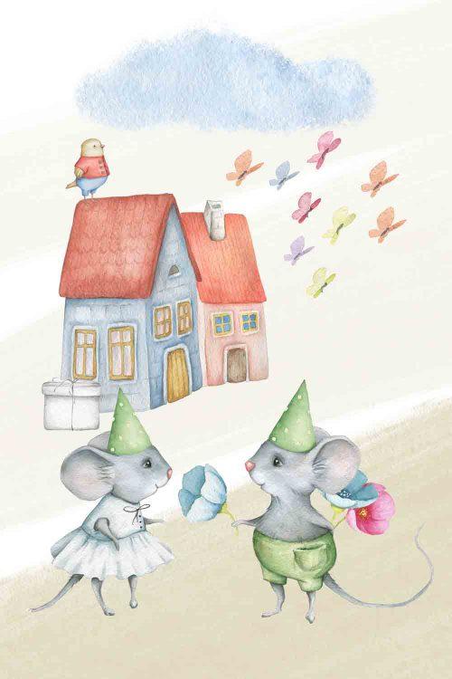 Obraz do pokoiku dziecięcego z myszkami