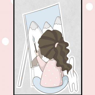 Plakat dziecięcy - Malująca dziewczynka