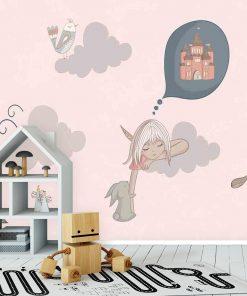 Fototapeta do pokoju dziecka z motywem śniącej dziewczynki
