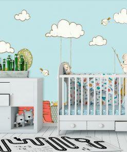Fototapeta do pokoju dziecka przedstawiająca zwierzęta na tle nieba
