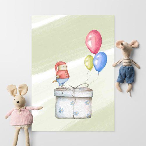 Plakat do pokoju dziecięcego z prezentem
