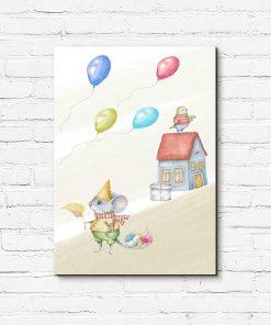Obraz dziecięcy - Mysz w urodzinowej czapce