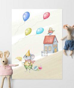 Plakat do pokoju dziecka - Urodzinowa myszka