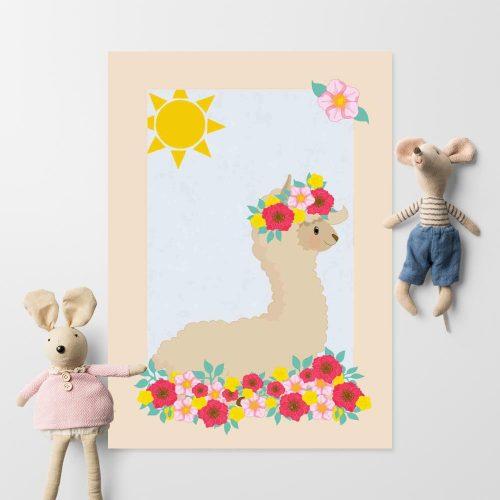 Plakat polecany do pokoju dziecka z lamą na słońcu