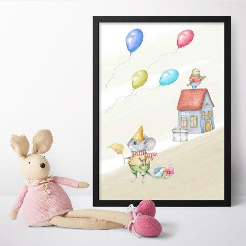 Plakat do pokoju dziecka z urodzinową myszką