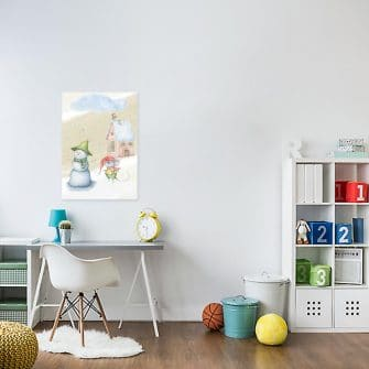 Obraz do pokoju dziecka - Myszka i bałwanek