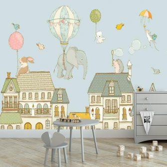 Fototapeta do pokoju dziecka z motywem słonia z balonem