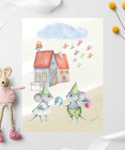 Plakat dla dzieci - Myszki w zielonych czapeczkach