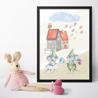 Plakat dla dziecka - Mały kurczaczek na dachu