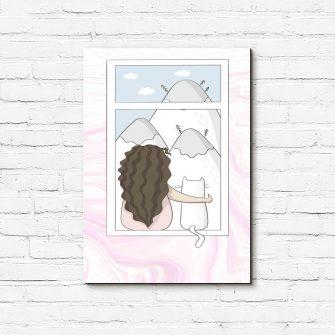 Obraz do pokoju dziecka z dziewczynką i kotem