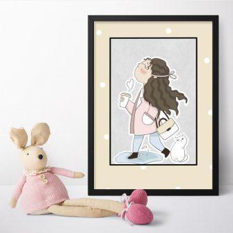 Plakat dziecięcy - Spacerująca dziewczynka