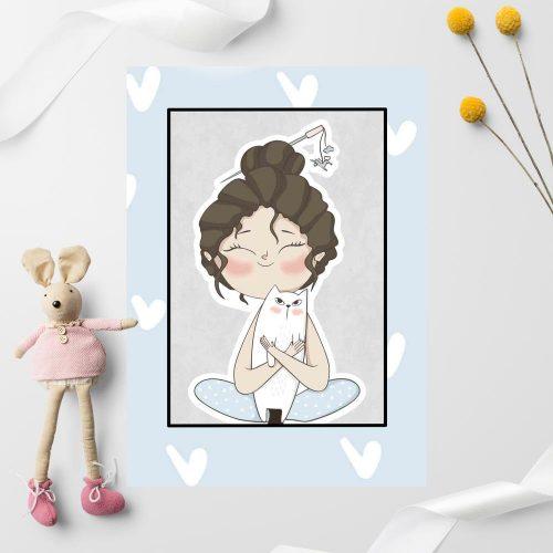 Plakat dla dziecka z dziewczynką przytulającą kotka