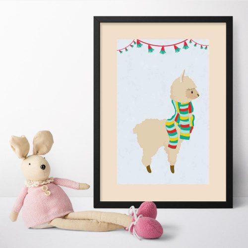 Plakat do pokoju dziecka - Śmieszna lama w szaliku