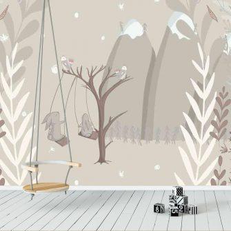 Fototapeta do pokoju dziecka - Huśtające się zajączki