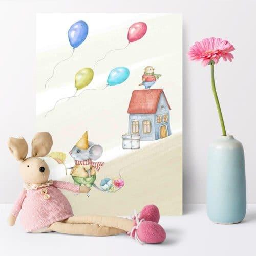 Plakat dla dziecka z urodzinową myszą
