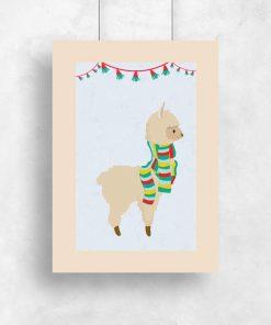 Plakat dziecięcy przedstawiający lamę w szaliku