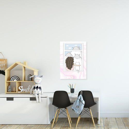 Obraz polecany do pokoju dziecięcego z dziewczynką i kotem