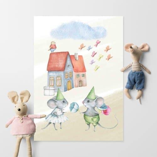 Plakat dla dziecka - Myszki i domki