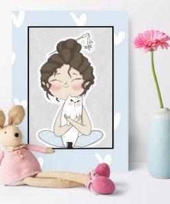 Plakat do pokoju dziecka z dziewczynką tulącą kotka