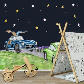 Fototapeta do pokoju dziecka z motywem fajnych samochodów
