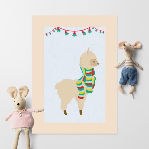 Plakat do pokoju dziecka - Zabawna lama w szaliku