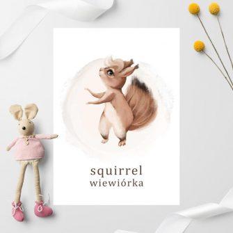 Plakat dla chłopca - Wiewiórka