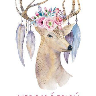 plakat z jeleniem i typografią