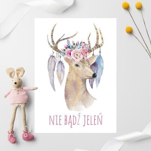 dziecięcy plakat przedstawiający jelenia