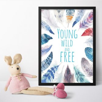 plakat z niebieskimi piórami do pokoju dziecka