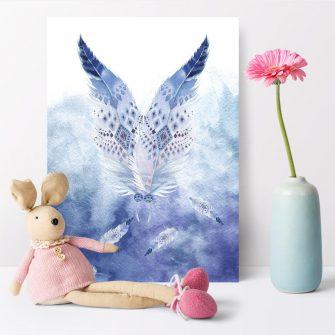 plakat nad łóżko dziecka z motywem piór