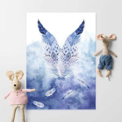 plakat z niebieskimi piórami dla dziecka