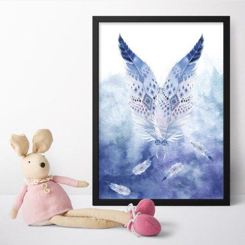 plakat dla dziecka z piórami w stylu boho