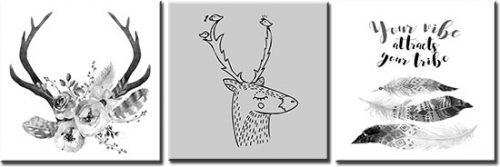 obraz z motywem jelenia w stylu boho