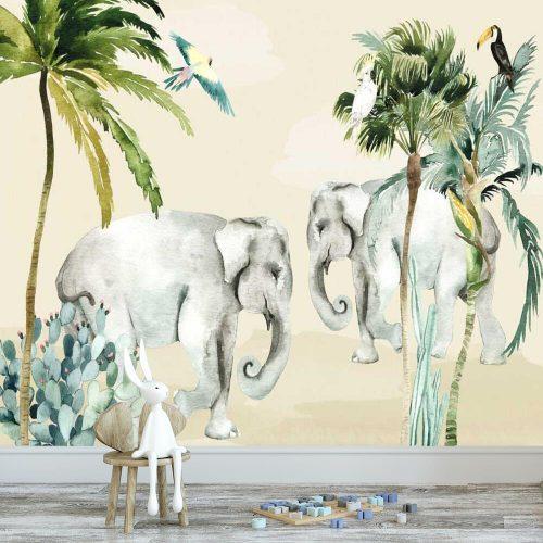 uśmiechnięte słonie na zielonej fototapecie dziecięcej