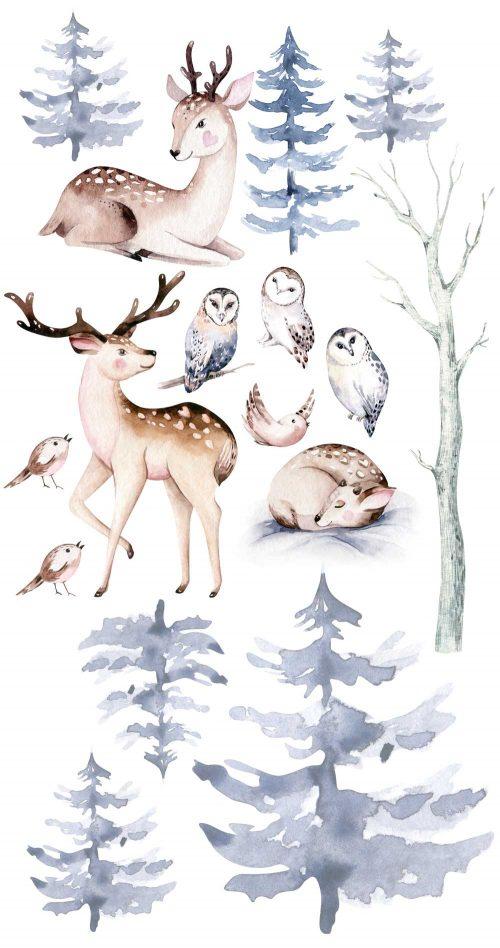 dekoracja do pokoju rodzeństwa- sowy i las