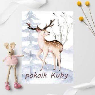 Jeleń na leśnym wzgórzu- plakat do pokoju dziecinnego