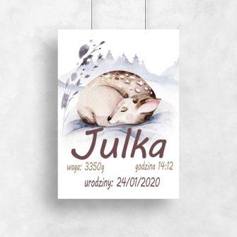 maleńki jelonek na plakacie z metryczką