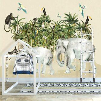 urocze słonie w dżungli dekoracje do przedszkola