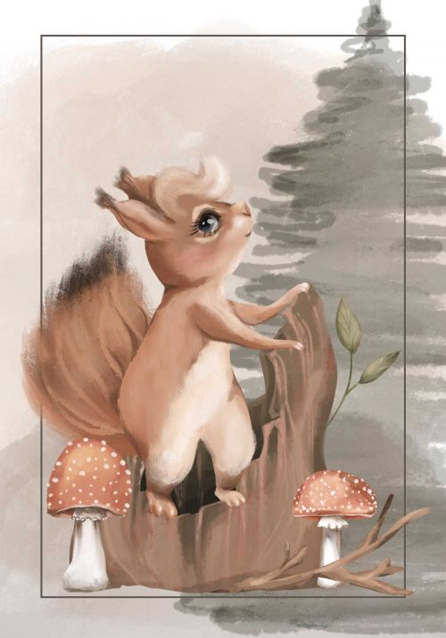 Plakat - Wiewiórka na pniu