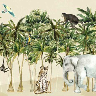 wesoła, kolorowa foto-tapeta dla dzieci ze słoniem